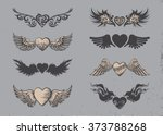 set of tattoo black hearts with ...