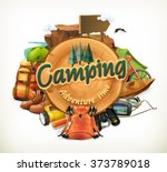 camping adventure time vector... | Shutterstock .eps vector #373789018