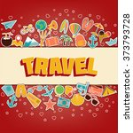 travel   doodle elements. thin ... | Shutterstock .eps vector #373793728