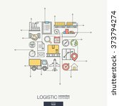 logistic integrated thin line... | Shutterstock .eps vector #373794274