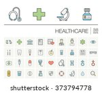 vector thin line icons set and... | Shutterstock .eps vector #373794778