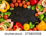 raw salmon steaks and fresh... | Shutterstock . vector #373803508