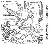 coloring  book.  hand drawn.... | Shutterstock .eps vector #373806844