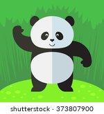 Panda Waving Hand. Flat Style...