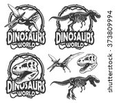 Set Of Dinosaurs World Emblems...