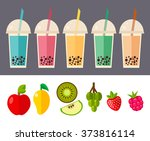 various bubble tea isolated...