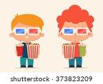cute cartoon kids with popcorn... | Shutterstock .eps vector #373823209