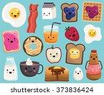 kawaii breakfast food cute... | Shutterstock .eps vector #373836424