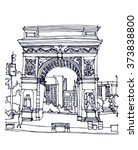 scene street illustration. hand ... | Shutterstock .eps vector #373838800