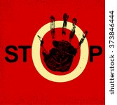 stop hand grunge sign. traffic... | Shutterstock .eps vector #373846444
