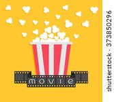 popcorn. film strip ribbon. red ... | Shutterstock . vector #373850296