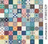 floral patchwork tile design.... | Shutterstock .eps vector #373851529
