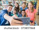 group of students doing selfie... | Shutterstock . vector #373857868