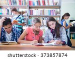 group of students engaged in... | Shutterstock . vector #373857874