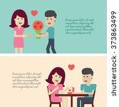 couple in love set illustration ... | Shutterstock .eps vector #373863499