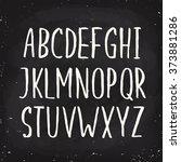 hand drawn alphabet written... | Shutterstock .eps vector #373881286