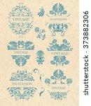 vector set  calligraphic design ...   Shutterstock .eps vector #373882306