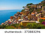 colorful houses in riomaggiore  ... | Shutterstock . vector #373883296