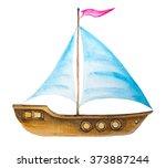 watercolor sailing boat symbol. ...   Shutterstock . vector #373887244