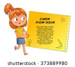 schoolgirl pointing at a poster.... | Shutterstock .eps vector #373889980
