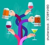 hands group holding glasses... | Shutterstock .eps vector #373891480