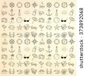 nautical icons set. hand drawn... | Shutterstock .eps vector #373892068