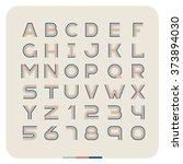 outline retro vintage font.... | Shutterstock .eps vector #373894030