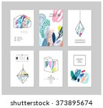 set of creative cards and... | Shutterstock .eps vector #373895674
