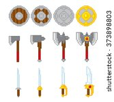 game elements weapons. pixel... | Shutterstock .eps vector #373898803