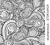 vector paisley doodle seamless... | Shutterstock .eps vector #373914919