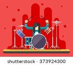 Drummer Drum Icons Set Hard...