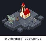 cursed church ghost monk evil... | Shutterstock .eps vector #373925473