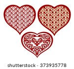 set of hearts with a lace... | Shutterstock .eps vector #373935778