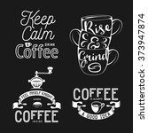 set of coffee related... | Shutterstock .eps vector #373947874