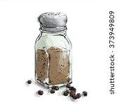 hand draw of black pepper...   Shutterstock .eps vector #373949809
