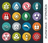 set of vector eco icons in flat ... | Shutterstock .eps vector #373965826