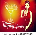 flyer with girl red dress... | Shutterstock . vector #373970140