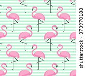 flamingo seamless pattern on... | Shutterstock .eps vector #373970188