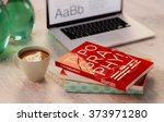 typography  coffee and books... | Shutterstock . vector #373971280
