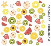 fruit pattern  fruit background ... | Shutterstock .eps vector #373984780