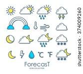 set of weather icons. vector... | Shutterstock .eps vector #374009260