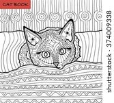 coloring book for adults  ... | Shutterstock .eps vector #374009338