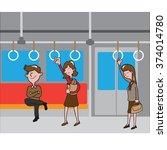 transportation people in metro... | Shutterstock .eps vector #374014780