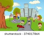 children playing in the park... | Shutterstock . vector #374017864