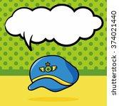 pilot hat doodle  speech bubble | Shutterstock .eps vector #374021440