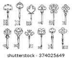Stock vector ornamental medieval vintage keys with intricate forging composed of fleur de lis elements 374025649