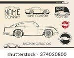 european classic sports car... | Shutterstock .eps vector #374030800