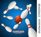 Bowling Concept. Strike  Over...