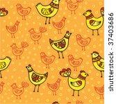 seamless chicken pattern | Shutterstock .eps vector #37403686