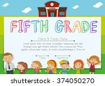 fifth grade diploma with... | Shutterstock .eps vector #374050270